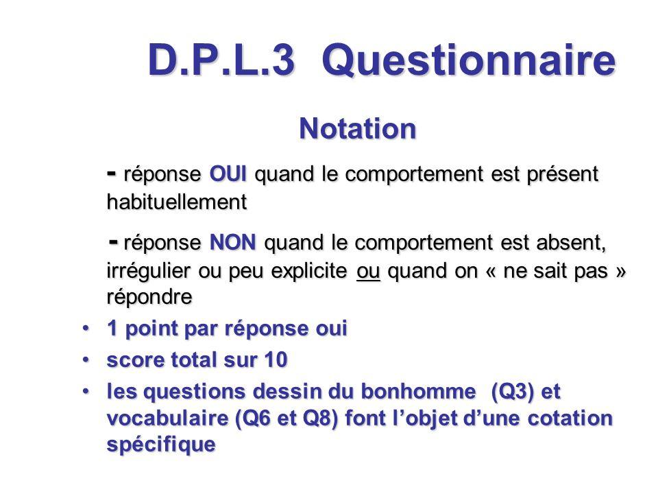 D.P.L.3 Questionnaire Notation