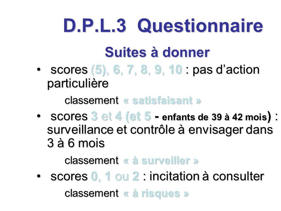 D.P.L.3 Questionnaire Suites à donner