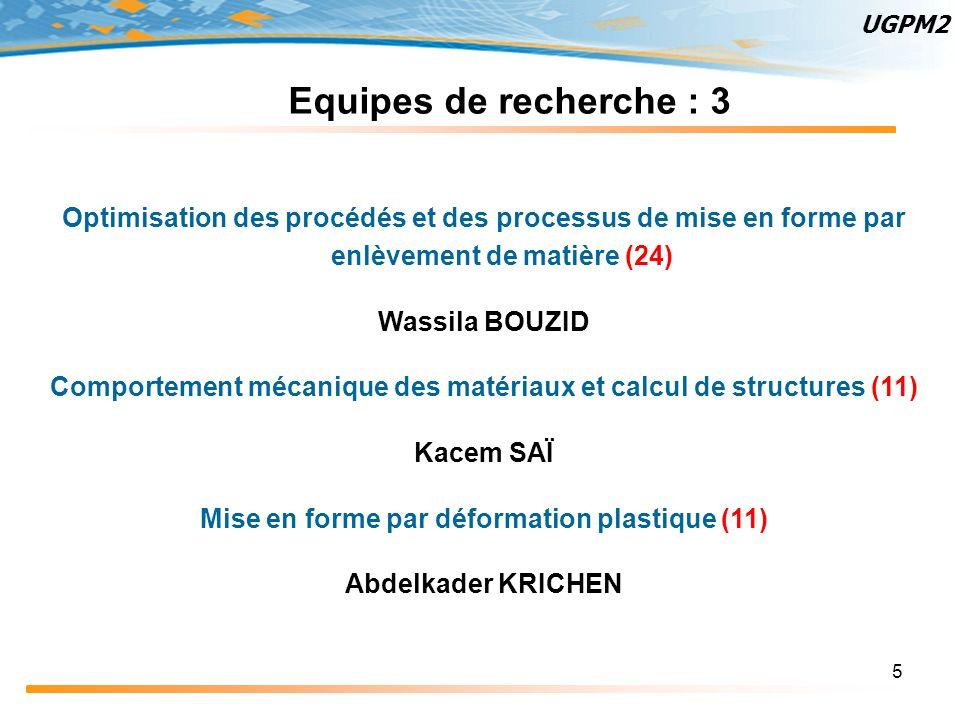 UGPM2 Equipes de recherche : 3. Optimisation des procédés et des processus de mise en forme par enlèvement de matière (24)
