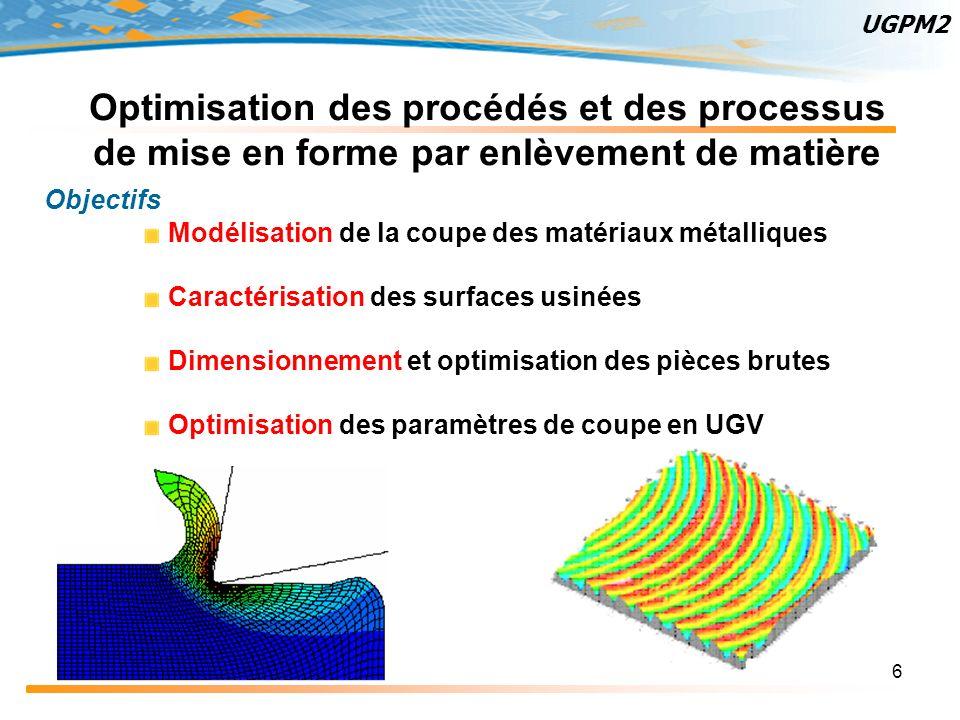 UGPM2 Optimisation des procédés et des processus de mise en forme par enlèvement de matière. Objectifs.