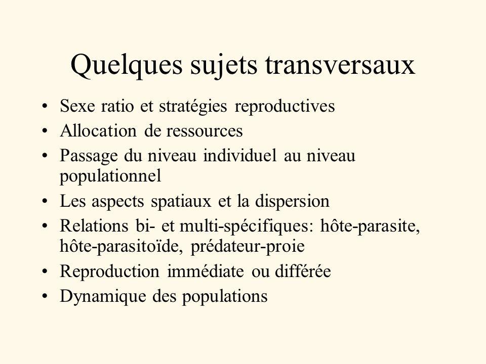 Quelques sujets transversaux