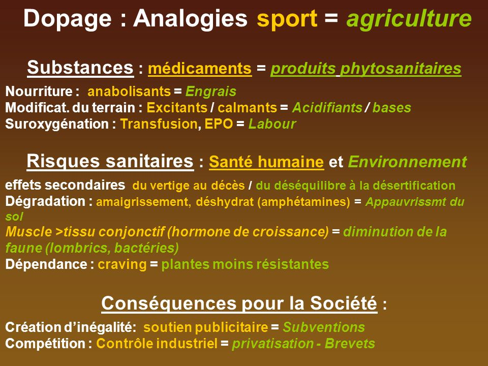 Dopage : Analogies sport = agriculture