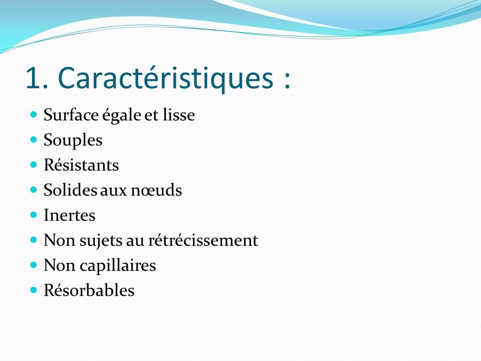 1. Caractéristiques : Surface égale et lisse Souples Résistants