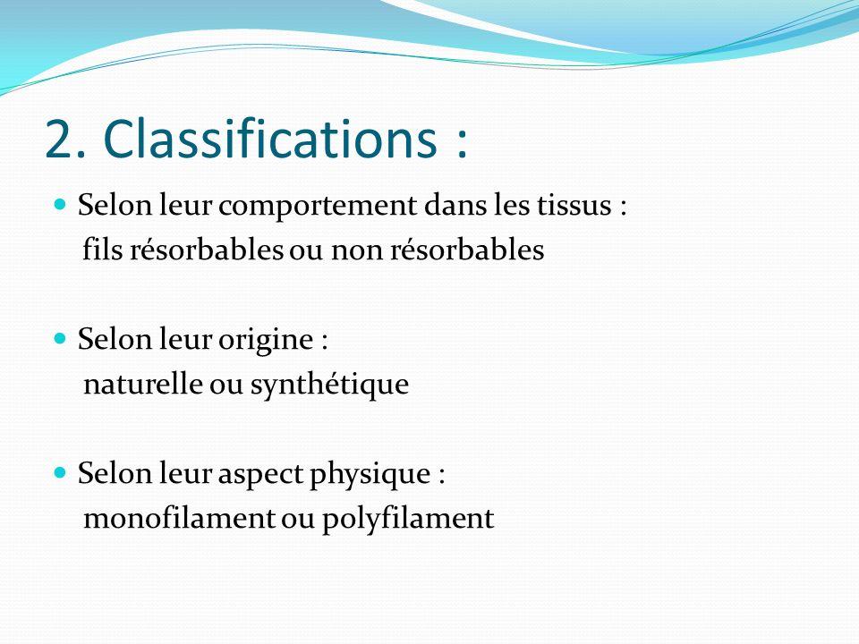 2. Classifications : Selon leur comportement dans les tissus :