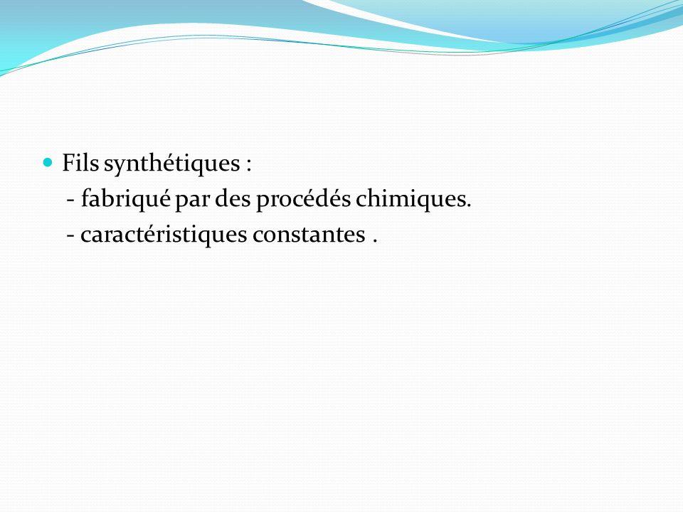 Fils synthétiques : - fabriqué par des procédés chimiques. - caractéristiques constantes .