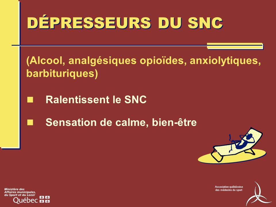 DÉPRESSEURS DU SNC (Alcool, analgésiques opioïdes, anxiolytiques, barbituriques) Ralentissent le SNC.