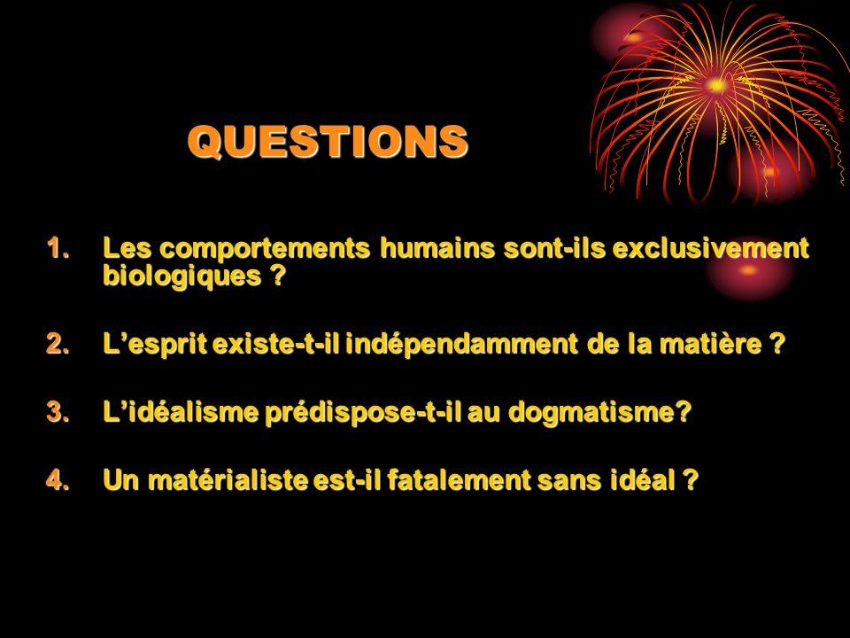 QUESTIONS Les comportements humains sont-ils exclusivement biologiques L'esprit existe-t-il indépendamment de la matière