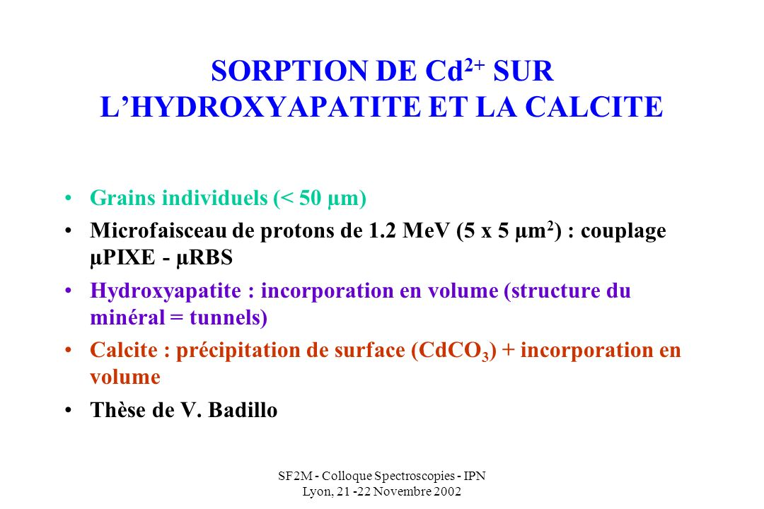SORPTION DE Cd2+ SUR L'HYDROXYAPATITE ET LA CALCITE