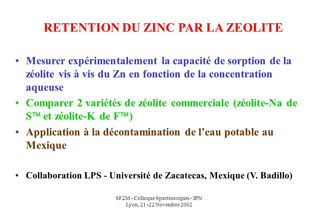 RETENTION DU ZINC PAR LA ZEOLITE