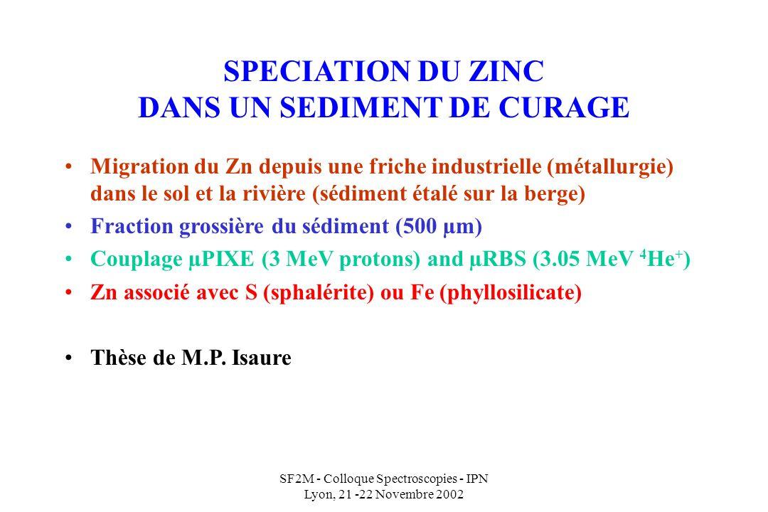 SPECIATION DU ZINC DANS UN SEDIMENT DE CURAGE