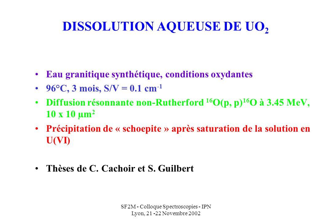 DISSOLUTION AQUEUSE DE UO2