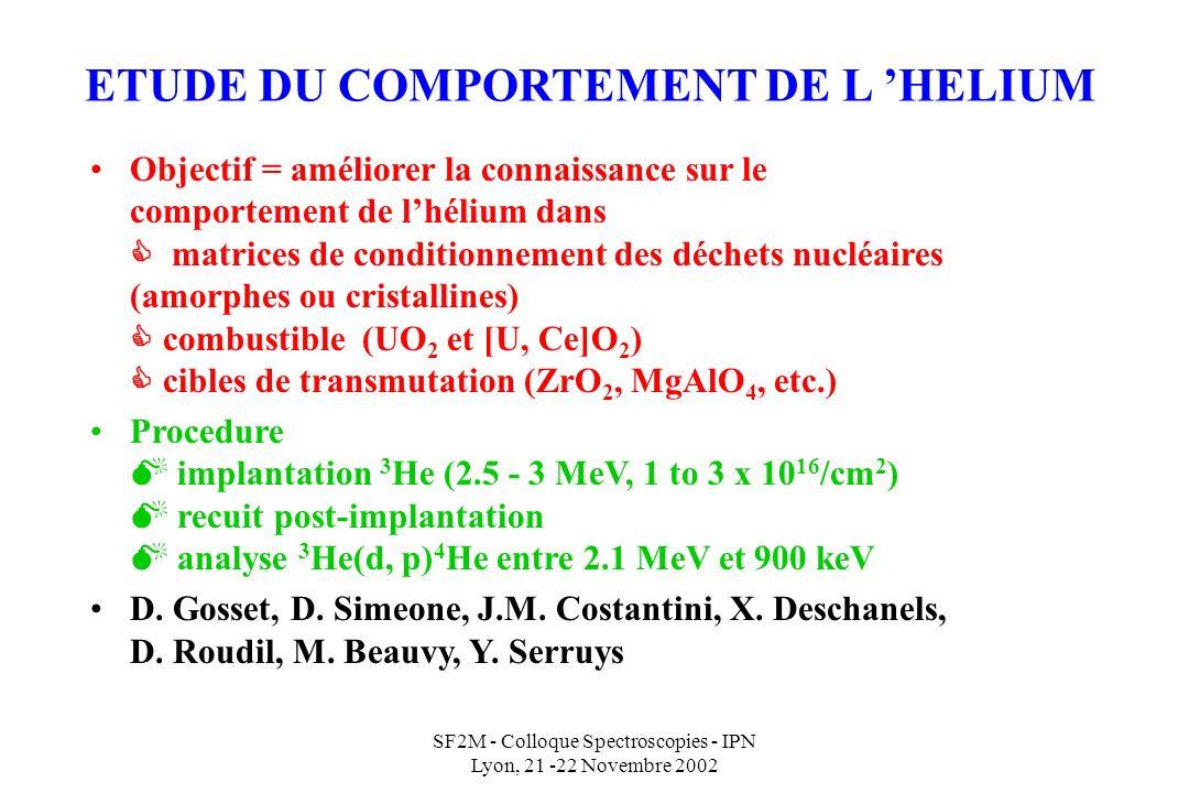 ETUDE DU COMPORTEMENT DE L 'HELIUM