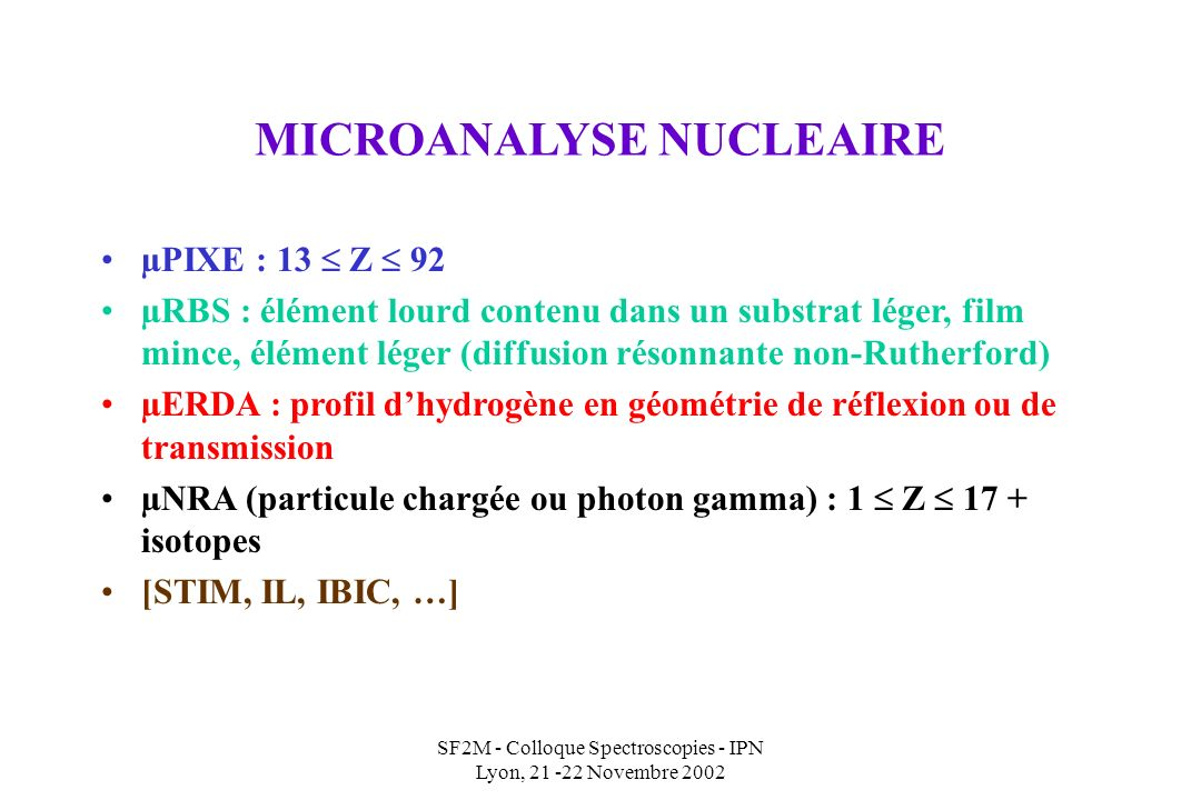 MICROANALYSE NUCLEAIRE