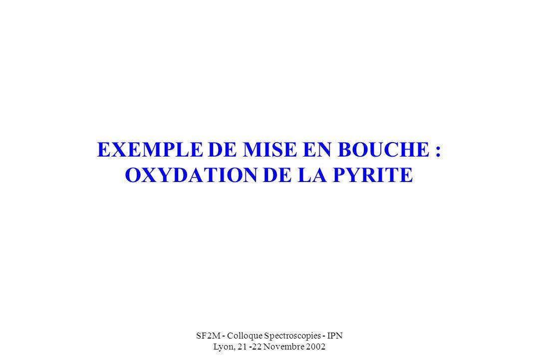 EXEMPLE DE MISE EN BOUCHE : OXYDATION DE LA PYRITE