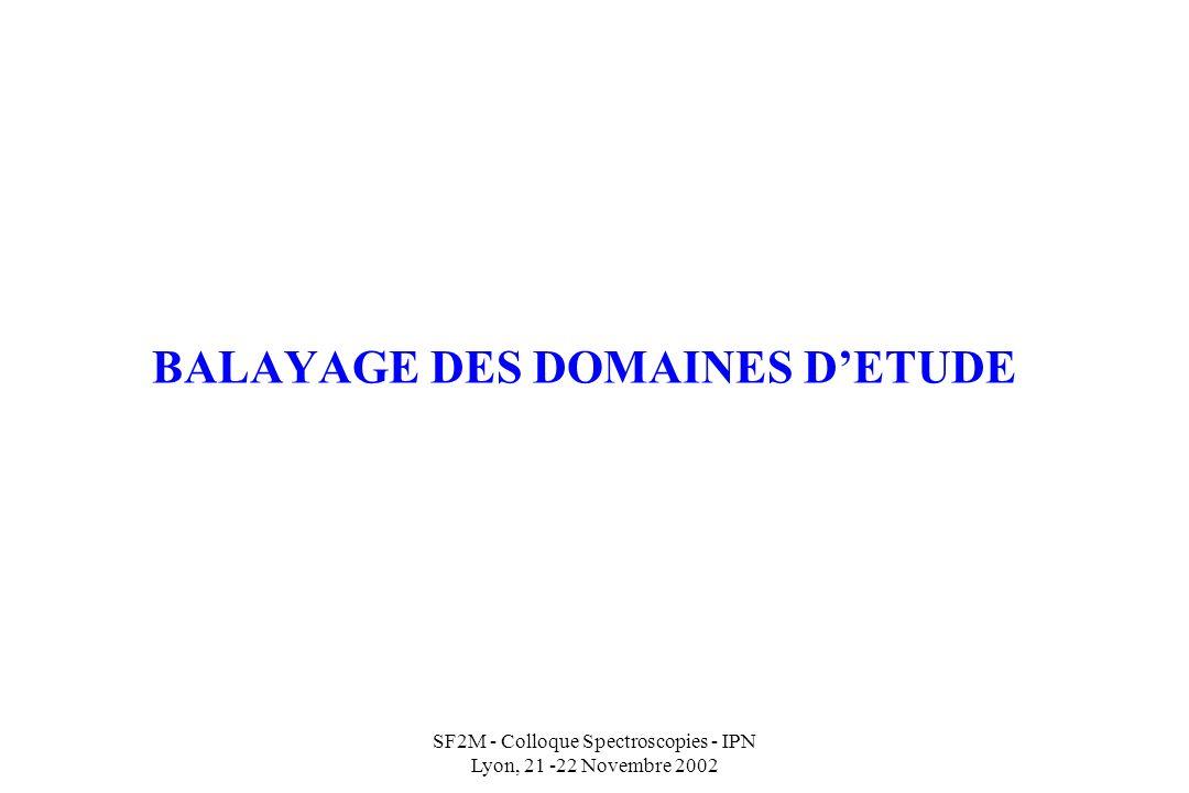 BALAYAGE DES DOMAINES D'ETUDE