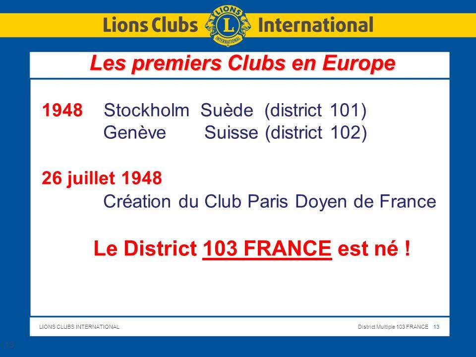 Les premiers Clubs en Europe