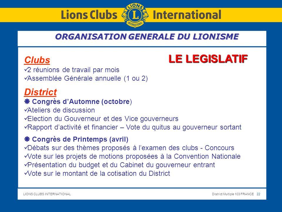 LE LEGISLATIF Clubs District ORGANISATION GENERALE DU LIONISME