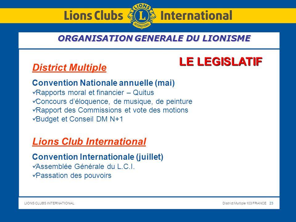 LE LEGISLATIF District Multiple Lions Club International