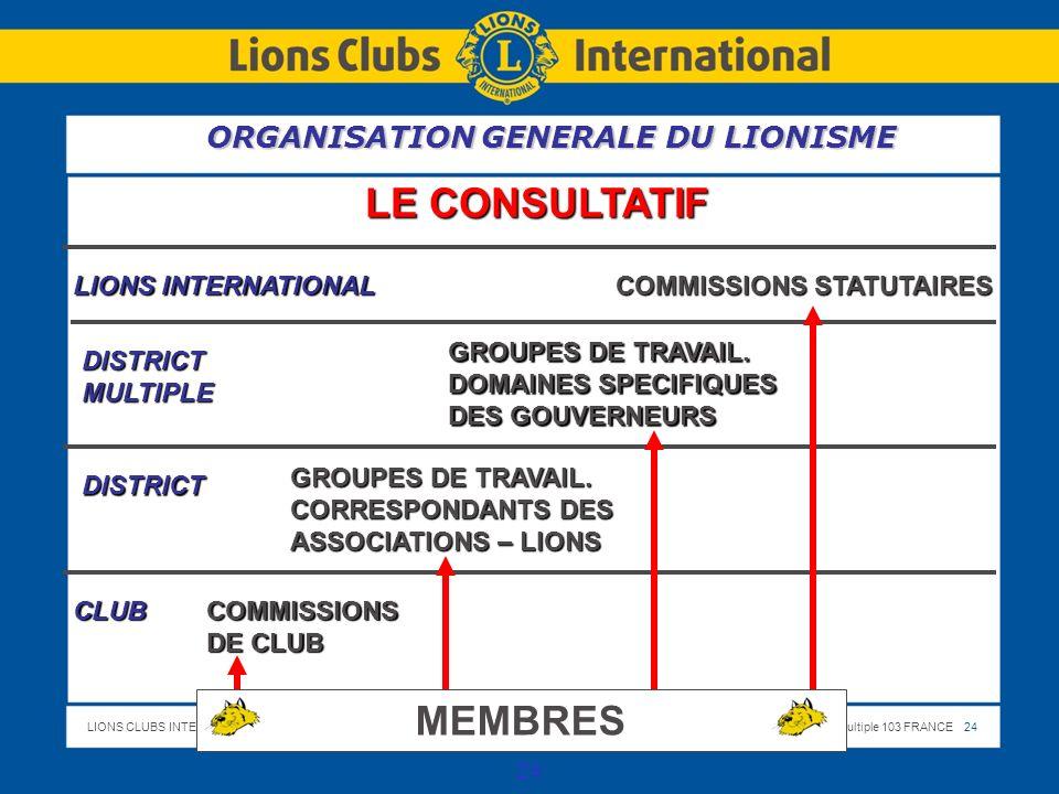 LE CONSULTATIF MEMBRES ORGANISATION GENERALE DU LIONISME