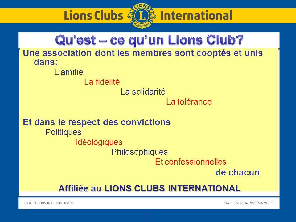 Qu est – ce qu'un Lions Club Affiliée au LIONS CLUBS INTERNATIONAL