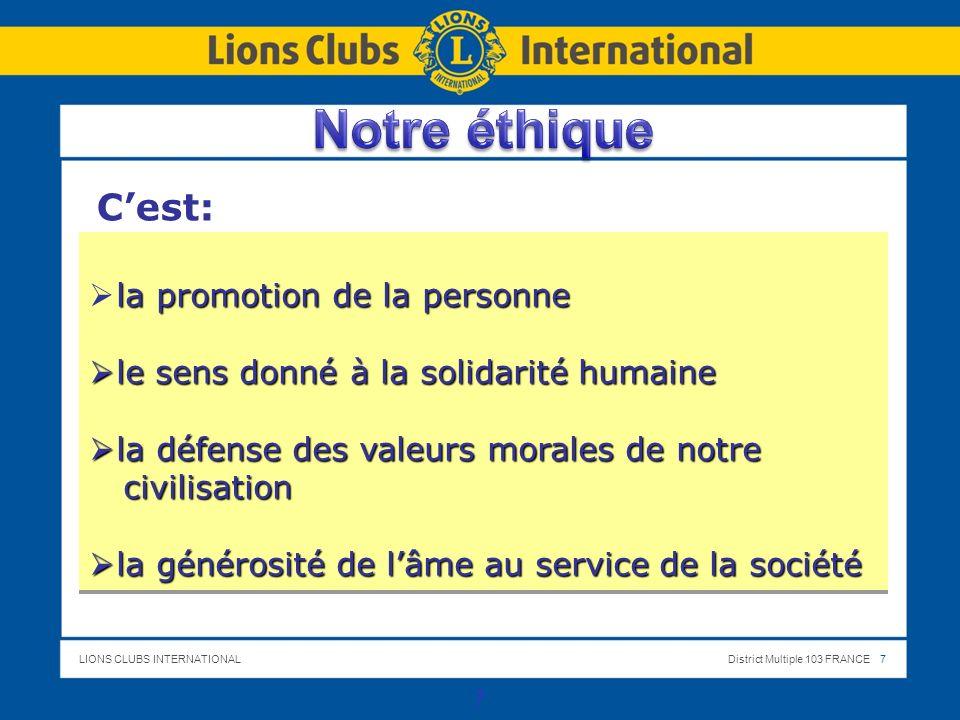 Notre éthique C'est: la promotion de la personne