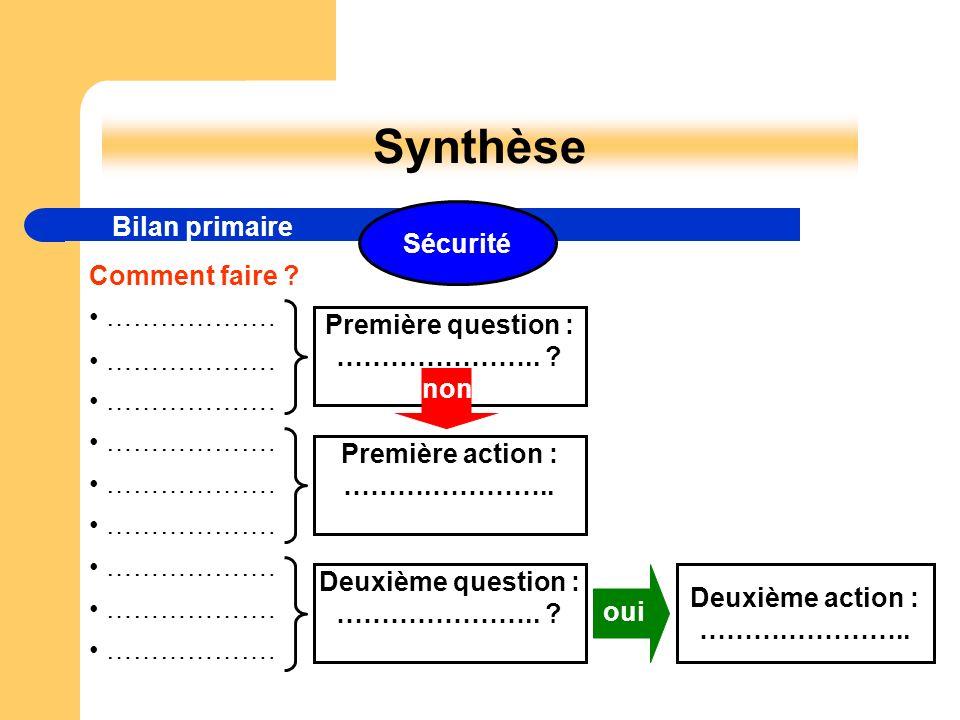 Synthèse Bilan primaire Sécurité Comment faire • ……………….