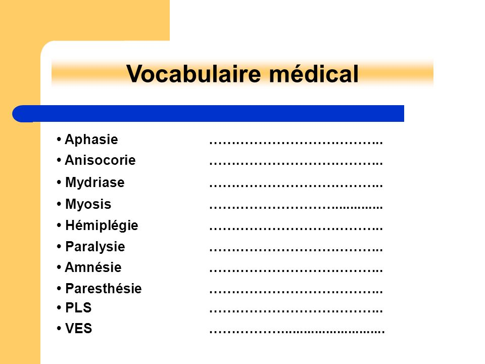 Vocabulaire médical • Aphasie …….…………………………..