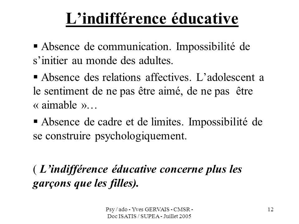 L'indifférence éducative