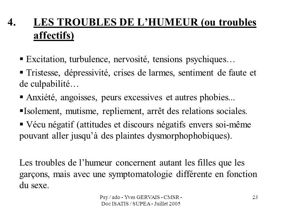 LES TROUBLES DE L'HUMEUR (ou troubles affectifs)