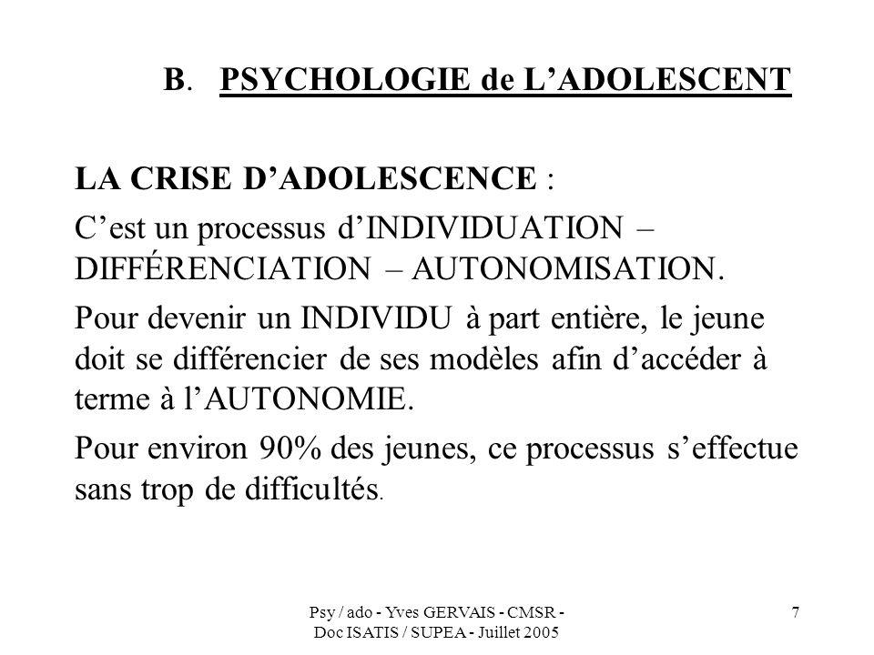 B. PSYCHOLOGIE de L'ADOLESCENT