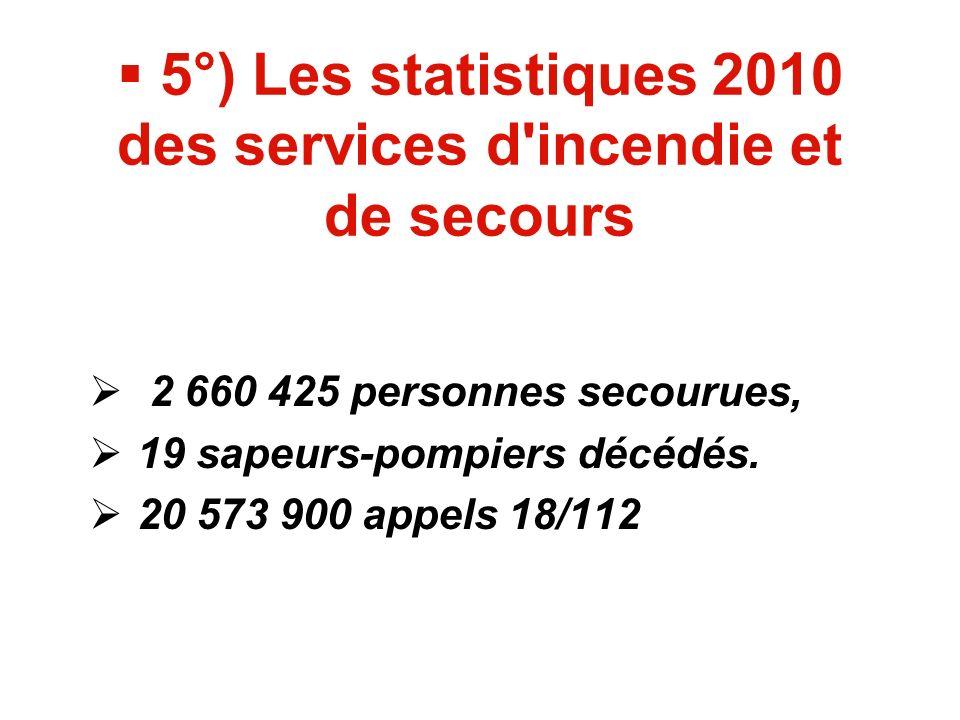 5°) Les statistiques 2010 des services d incendie et de secours