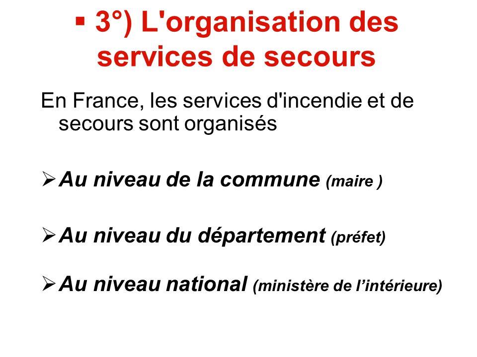 3°) L organisation des services de secours