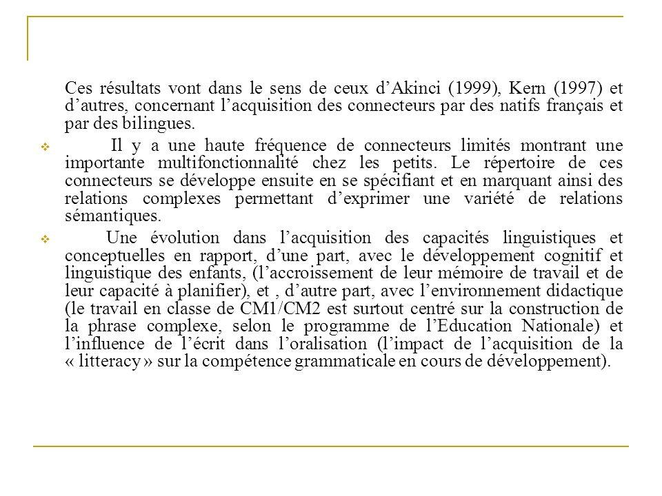 Ces résultats vont dans le sens de ceux d'Akinci (1999), Kern (1997) et d'autres, concernant l'acquisition des connecteurs par des natifs français et par des bilingues.