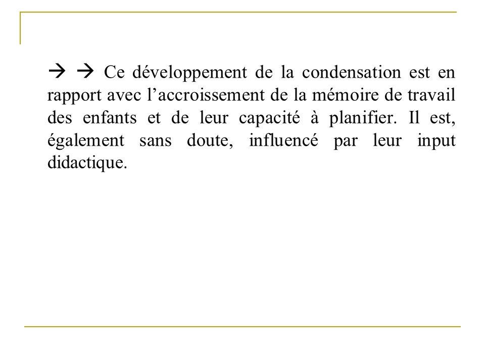   Ce développement de la condensation est en rapport avec l'accroissement de la mémoire de travail des enfants et de leur capacité à planifier.