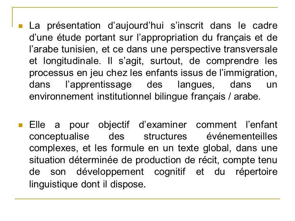 La présentation d'aujourd'hui s'inscrit dans le cadre d'une étude portant sur l'appropriation du français et de l'arabe tunisien, et ce dans une perspective transversale et longitudinale. Il s'agit, surtout, de comprendre les processus en jeu chez les enfants issus de l'immigration, dans l'apprentissage des langues, dans un environnement institutionnel bilingue français / arabe.