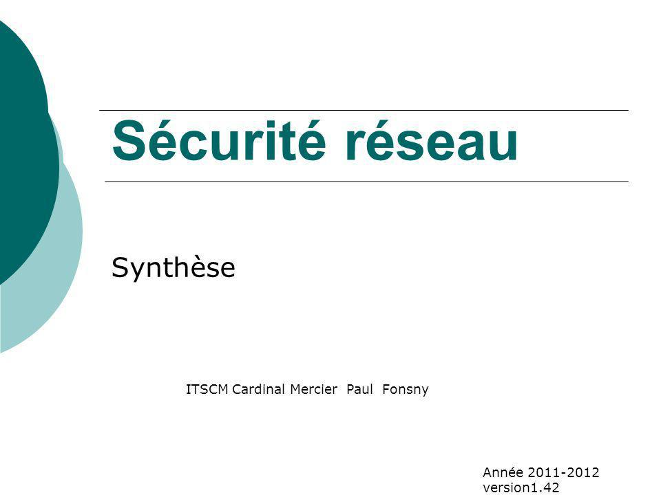 Sécurité réseau Synthèse ITSCM Cardinal Mercier Paul Fonsny