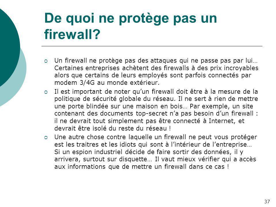 De quoi ne protège pas un firewall