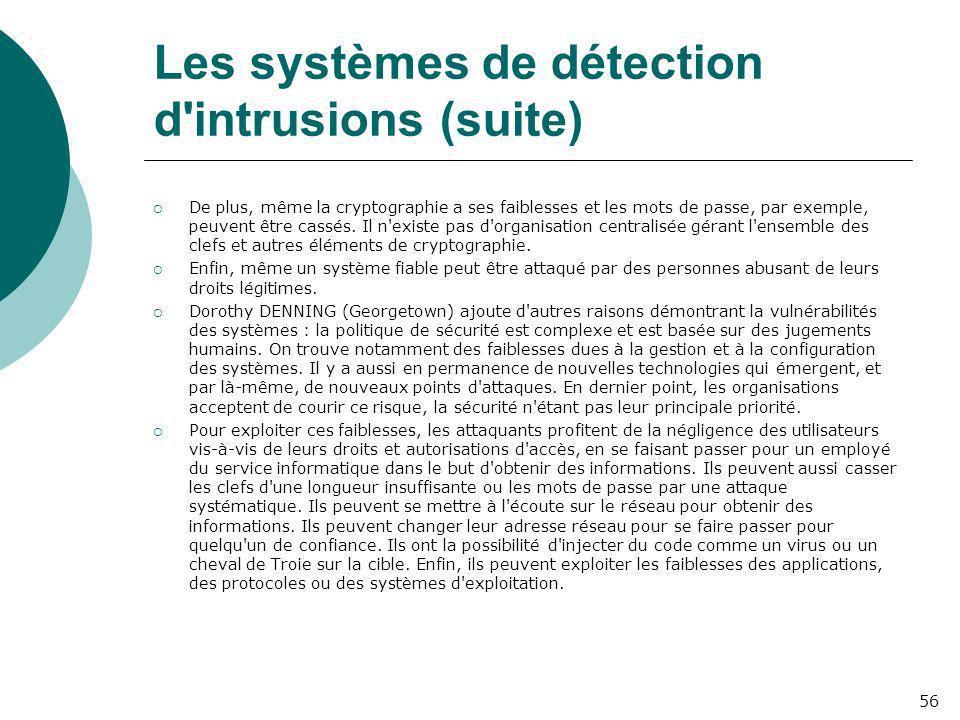 Les systèmes de détection d intrusions (suite)