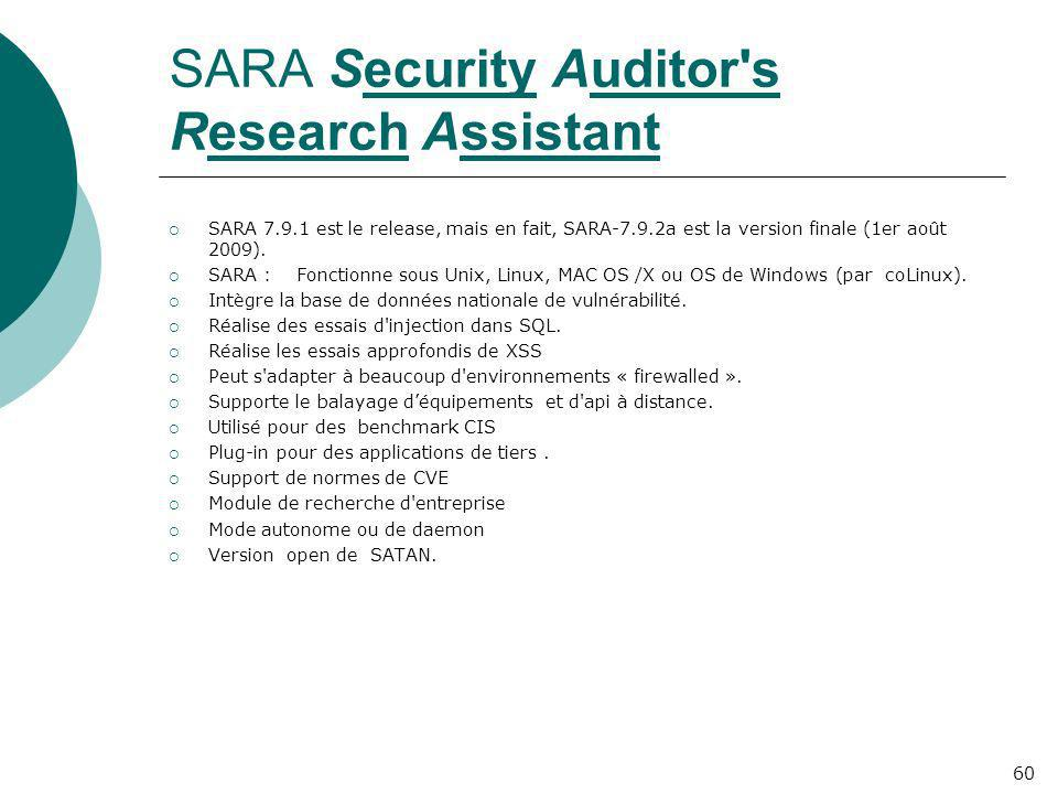 SARA Security Auditor s Research Assistant