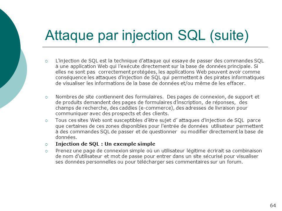 Attaque par injection SQL (suite)
