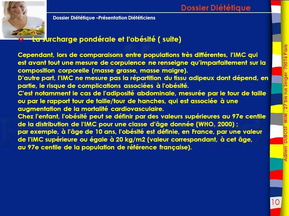 Dossier Diététique La surcharge pondérale et l obésité ( suite)