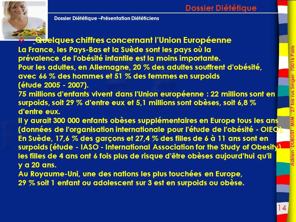 Dossier Diététique Quelques chiffres concernant l Union Européenne