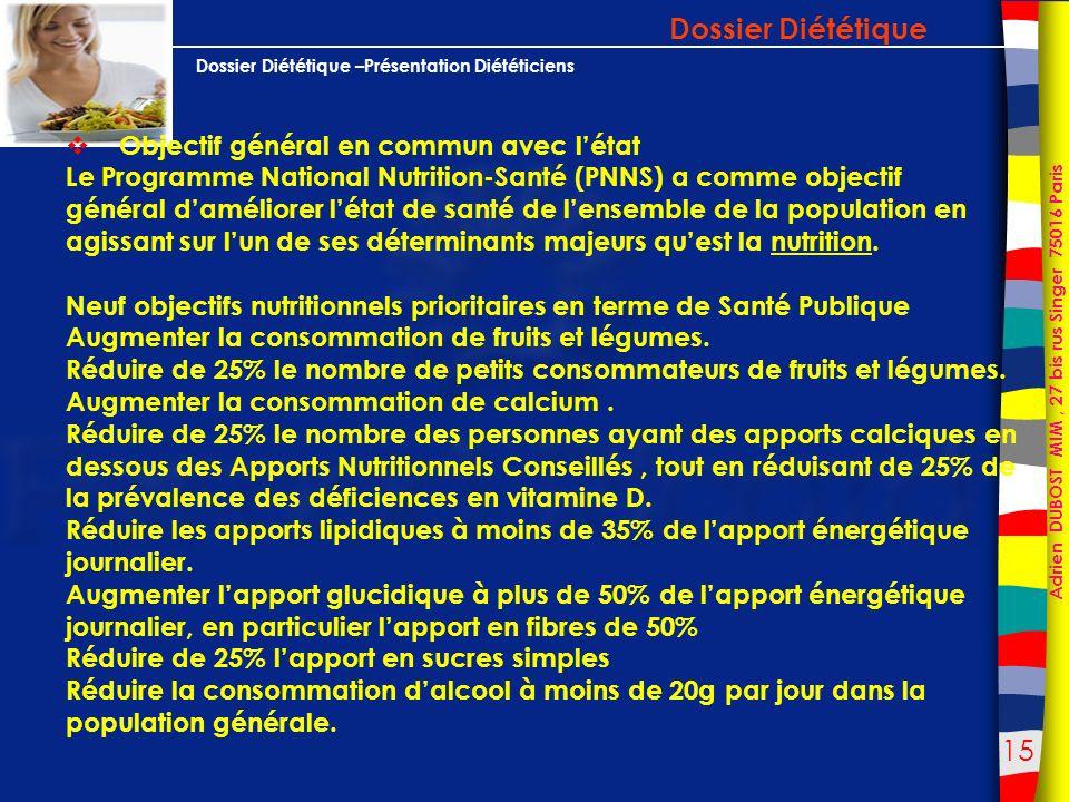 Dossier Diététique Objectif général en commun avec l'état