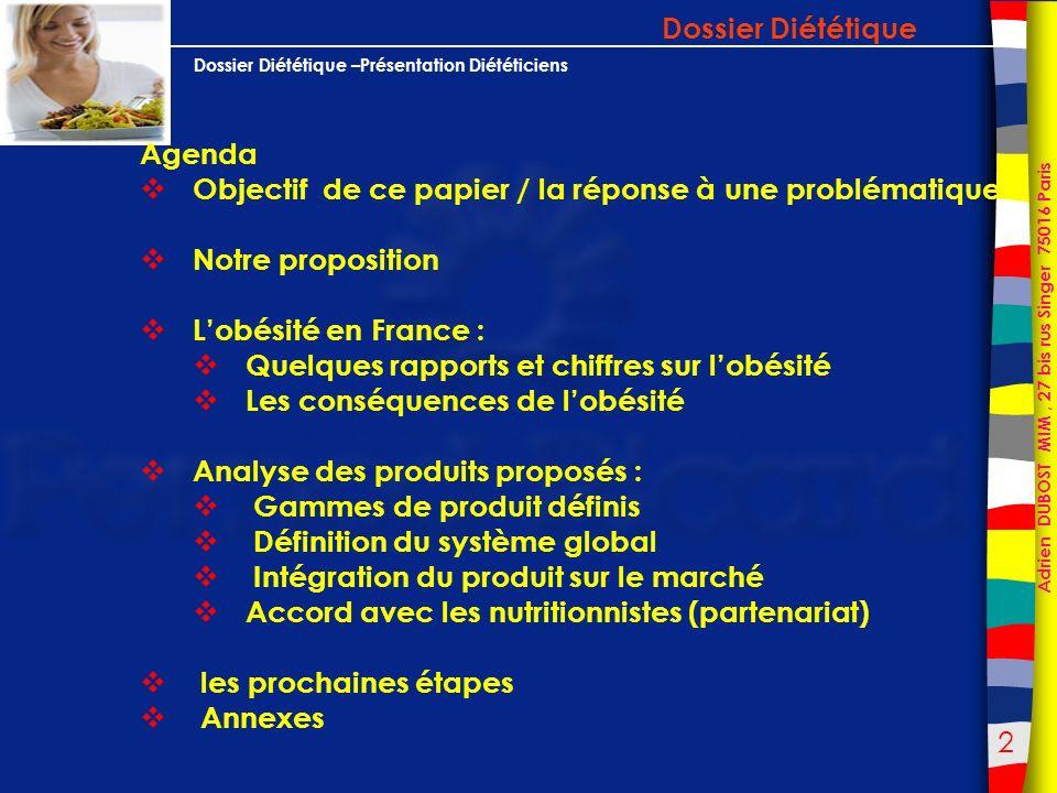 Dossier Diététique Agenda. Objectif de ce papier / la réponse à une problématique. Notre proposition.