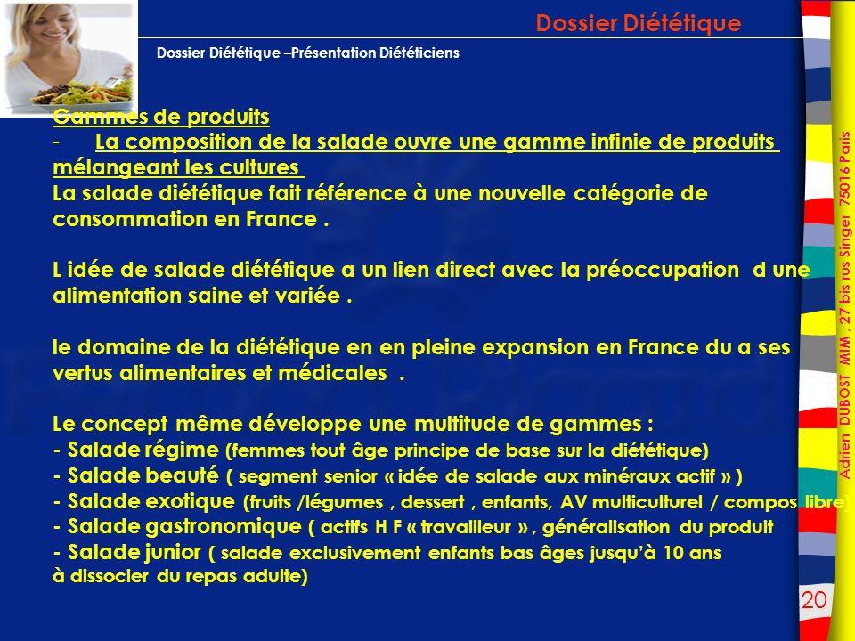 Dossier Diététique Gammes de produits