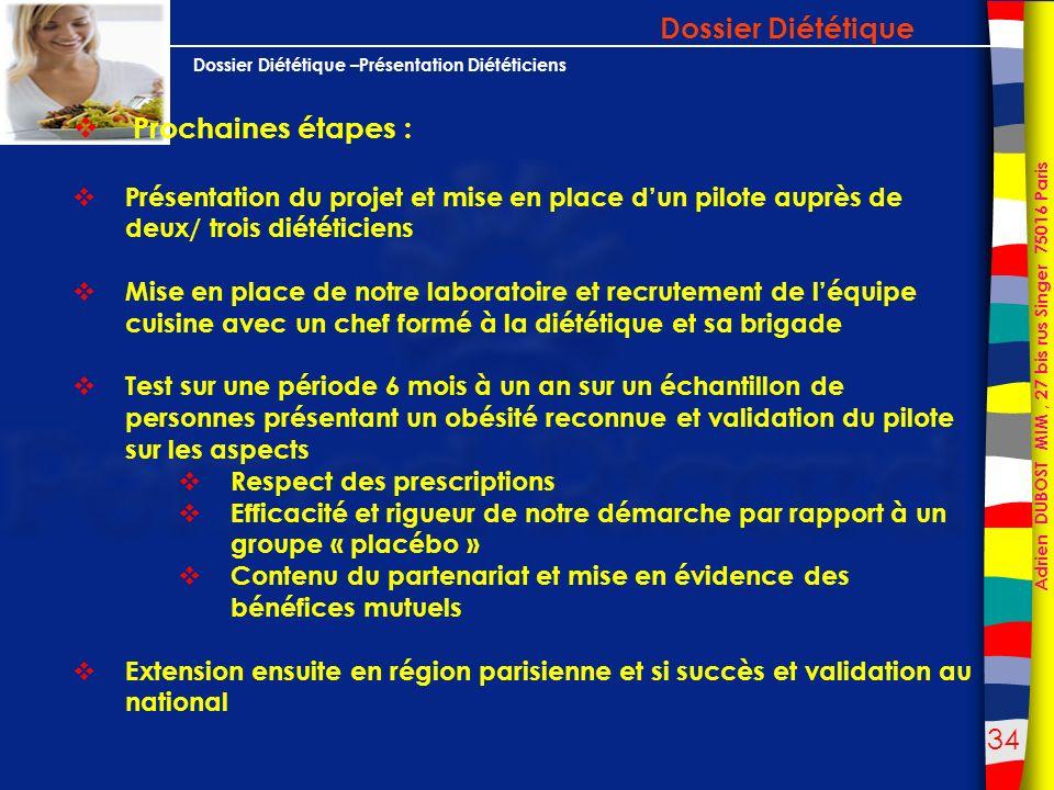 Dossier Diététique Prochaines étapes :