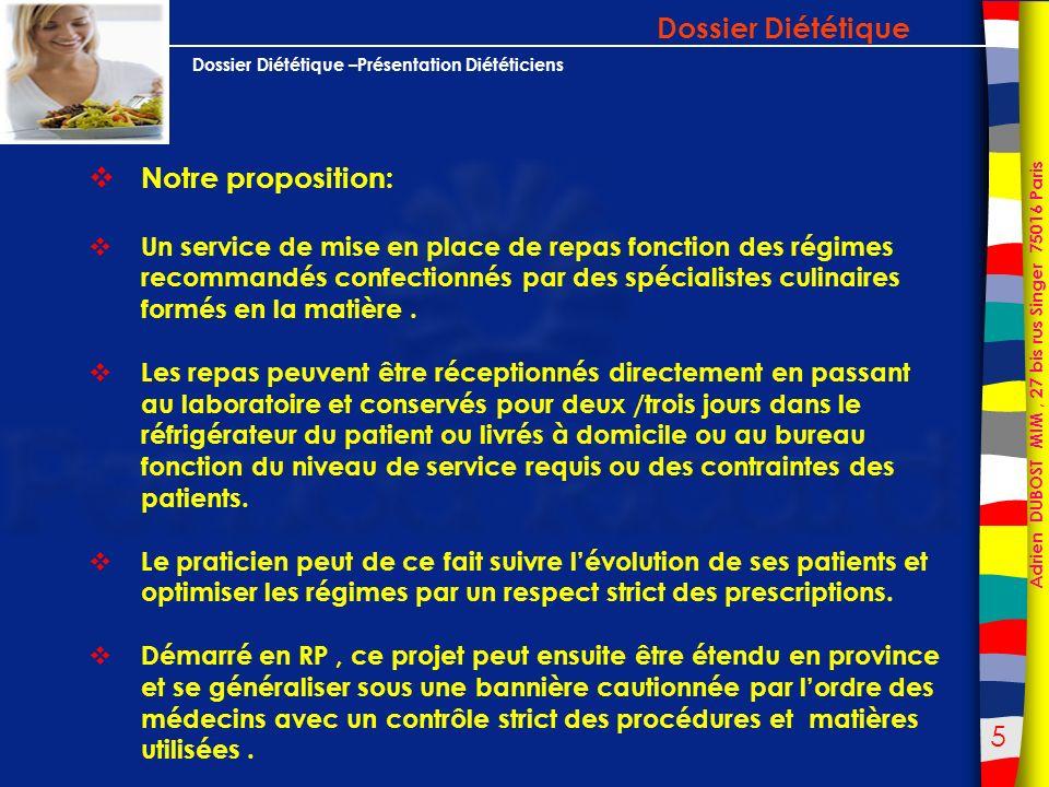 Dossier Diététique Notre proposition: