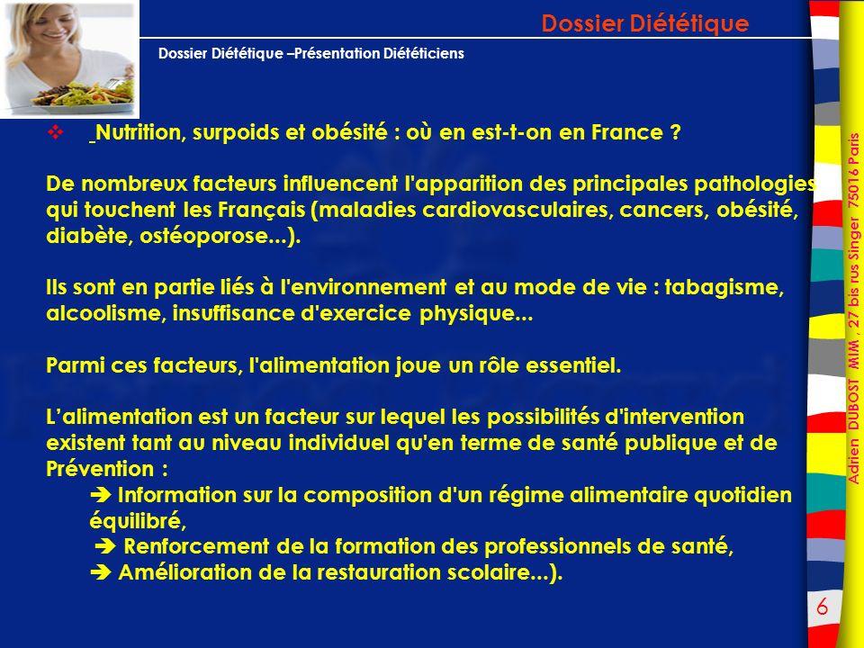 Dossier Diététique Nutrition, surpoids et obésité : où en est-t-on en France
