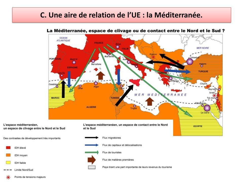 C. Une aire de relation de l'UE : la Méditerranée.