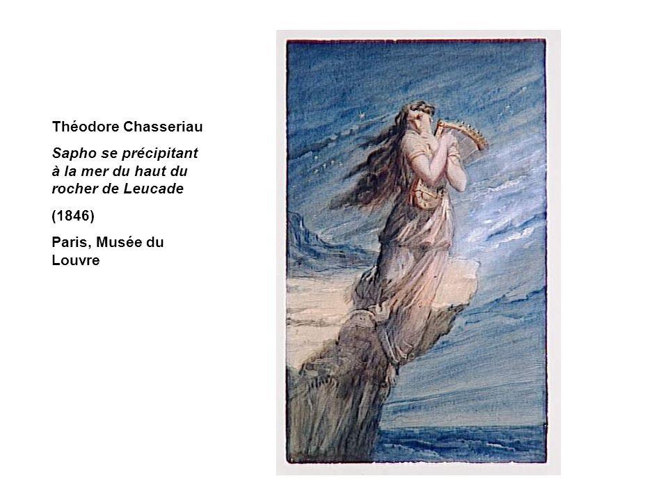 Théodore Chasseriau Sapho se précipitant à la mer du haut du rocher de Leucade.